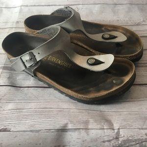 BIRKENSTOCK Silver Metallic Gizeh Sandals